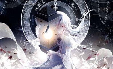 White hair, anime girl, original, lantern
