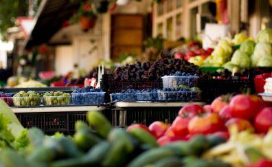 Fruits, vegetables, market, colorful fruits