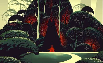 Red riding hood, fantasy, wolf, artwork, forest