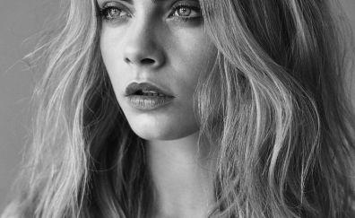 Actress, model, Cara Delevingne, monochrome