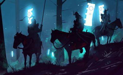 Knight, banners, horse, night, digital art