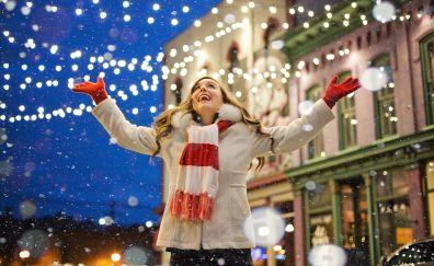 Christmas, happiness, celebrations, snowfall, 5k