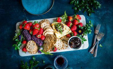 Fruits, cookies, food dish