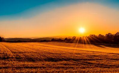 Sun, sunset, skyline, landscape