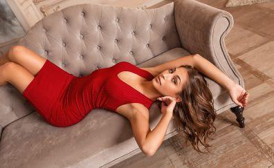 Lying down, girl model, sofa