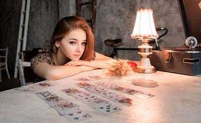 Red head, woman, card, lamp