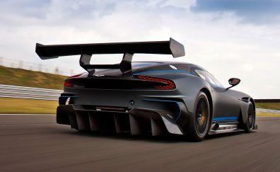 On road, rear view, Aston Martin Vulcan