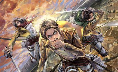 Mikasa Ackerman, Eren Yeager, Levi Ackerman, Attack on Titan, anime boys