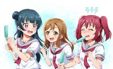 Hanamaru Kunikida, Ruby Kurosawa, Yoshiko Tsushima, Love Live!, anime girls