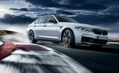 Bmw M5, luxury car, motion blur, 4k, 2017