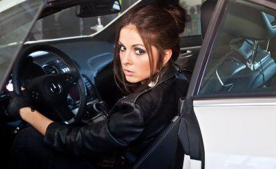 Beautiful, singer, Nyusha, leather jacket