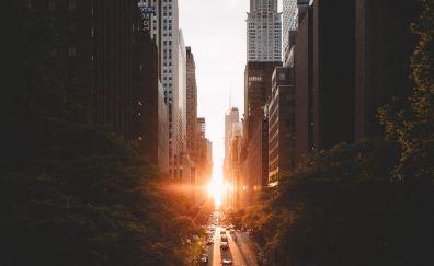 Manhattanhenge, city, road, sunset, buildings, manhattan