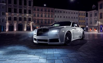 Rolls-Royce Wraith, 2017 white car, front view,  night, 4k
