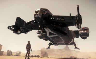 Spaceship, star citizen, take off, 4k