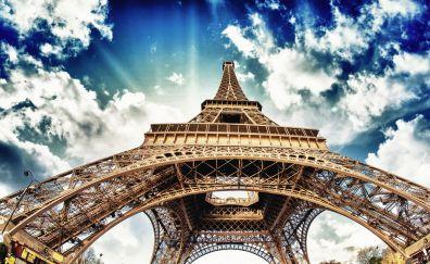 Eiffel Tower, architecture, clouds, Paris