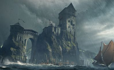 Fantasy, castle, 4k, fortress, boat, art