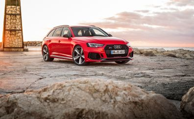 Audi rs4 avant, red sports car, 4k, 2017