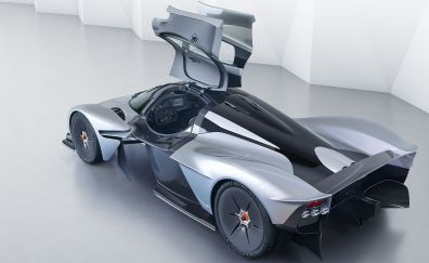 Aston martin Valkyrie, top and side view, open doors, hybrid car