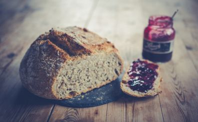 Bread, jam, breakfast, food