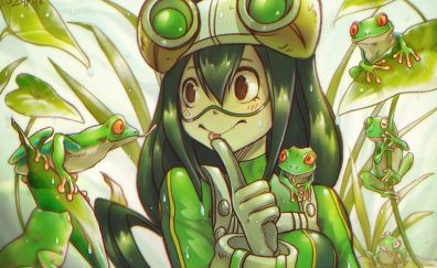 Frogs, anime girl, My Hero Academia, Tsuyu Asui