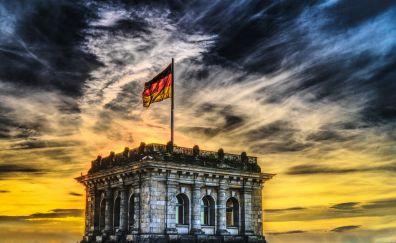 Bundestag, castle, architecture, sunset