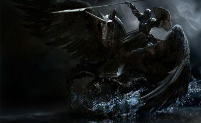 Knight, pegasus, dark horse, art