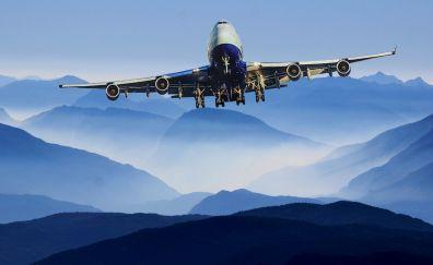Airplane, flight, horizon