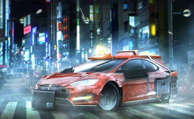 Tesla, future car, city, night, art, 4k