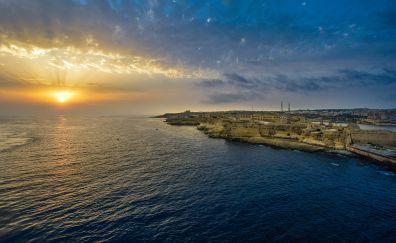 Malta harbor, bay, sunset
