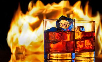 Whisky drinks and fire