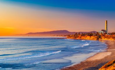 California beach, sunset, evening, nature