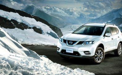 Nissan x-trail, white SUV, front, 4k