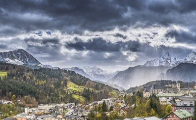 Mountains range, clouds, sky, city, 5k