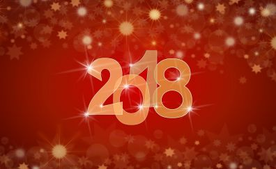 Happy new year, glitters, bokeh, abstract, 2018, digital art, 5k