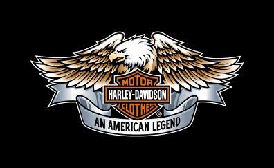 Harley-Davidson, eagle, logo, typography, 4k