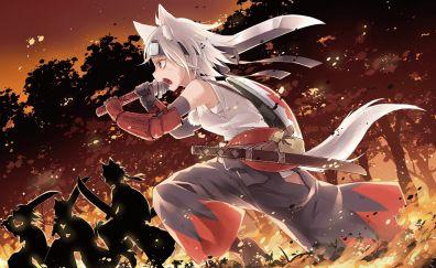 Fight, sword, Momiji Inubashiri, Touhou, anime girl