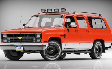 1985 Chevrolet Suburban car, side view, art