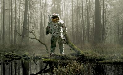 Astronaut, forest, earth, space suit, 4k