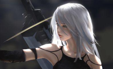 Yorha type a no 2, white hair, Nier: Automata, art