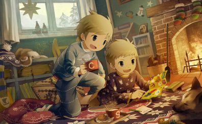 Cartoon, kid, play