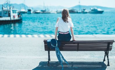 Bench, harbour, girl model