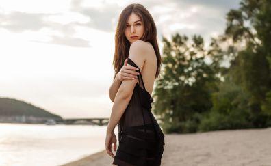 Beautiful, girl model, bare shoulder, black dress