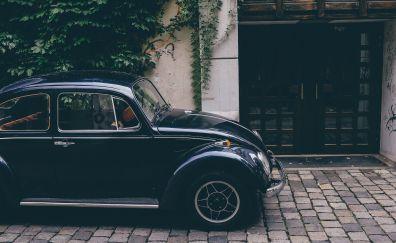 Black car, Volkswagen beetle, car, 4k