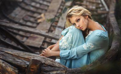 Alice Tarasenko, sitting, girl, model, blonde
