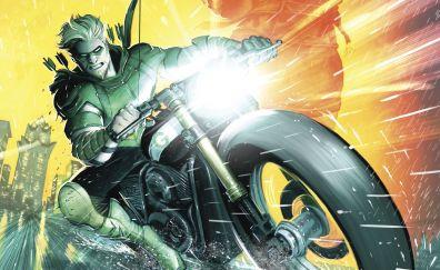 Green Arrow, riding bike, dc comics