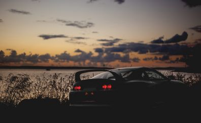 Sunset, Toyota, sports car, rear view
