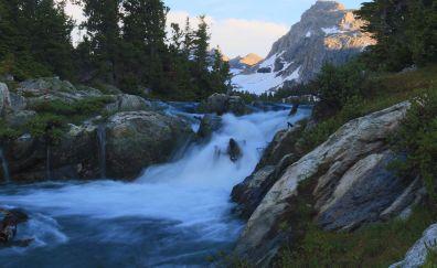 Wyoming, river, waterfall, nature, Yellowstone National Park