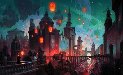Fantastic city, night, art