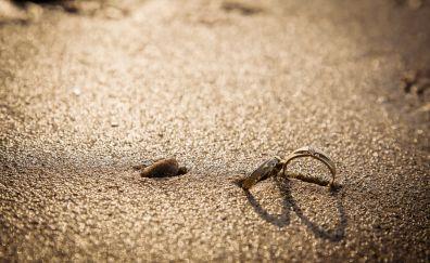 Wedding rings, love, beach, sand