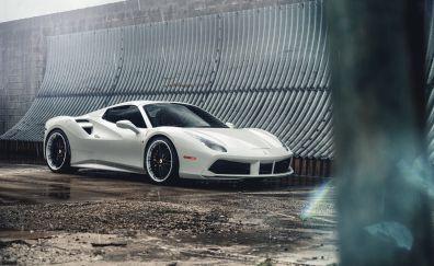 Ferrari 488, white sports car, side view, 5k
